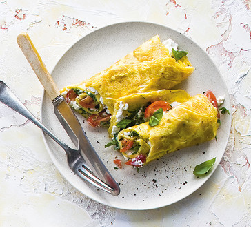 Rolled Omelet with Basil and Cottage Cheese | Stop and Shop