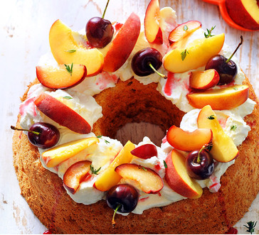 Angel Food Cake with Yogurt Cream and Stone Fruit image