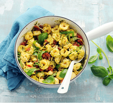 Tortellini with Pesto and Sun-Dried Tomatoes image