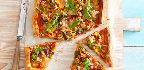 pizza with lemon pepper tuna and arugula tuna and spicy arugula make ...