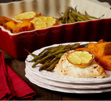 baked chicken, sweet potatoes and green beans image