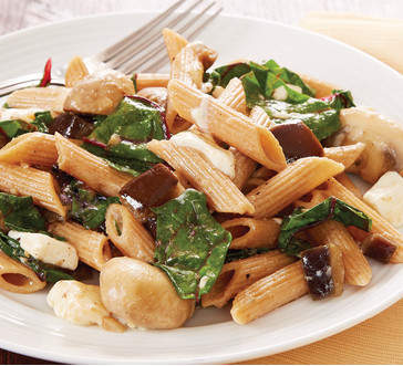 Pasta with Swiss Chard, Eggplant and Mushrooms image