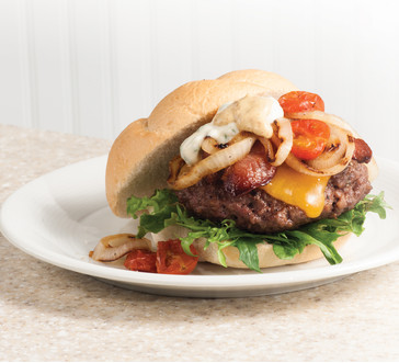 Caramelized Onion & Grilled Tomato Burgers image
