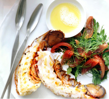 Lobster Tails with Beurre Blanc and Tomato-Herb Salad image