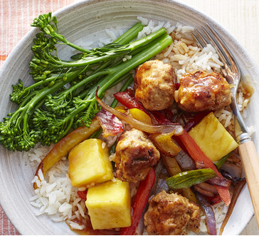 sweet and sour meatballs with peppers and pineapple image