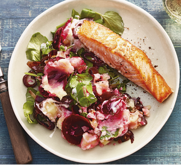 Baked Salmon with Beet and Watercress Mash image