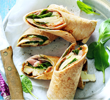 Spinach, Brie, Ham and Apple Butter Wrap image