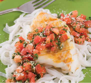 Broiled Fish with Tomato Basil Topping image