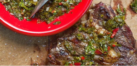 Grilled rib eye steak with chimichurri sauce - Giant Food