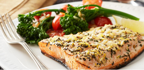 grilled salmon with broccolini broccolini is a sweeter and tenderer ...