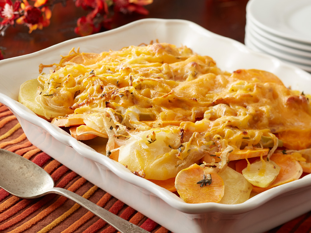 Sweet Potato, Apple, Golden Potato, and Cheddar Gratin | Recipes ...