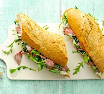 Warm Steak Sandwiches with Chimichurri and Arugula image