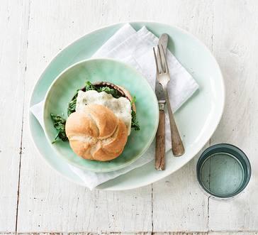 Balsamic Portobello Burger with Spinach and Horseradish Cheddar image