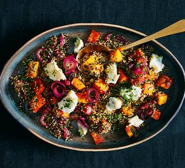 Quinoa Salad with Sweet Potatoes and Blue Cheese image