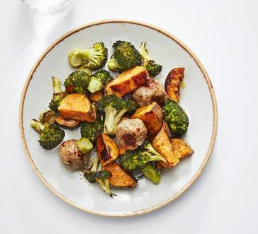 Roasted Chicken Meatballs with Sweet Potato and Broccoli image