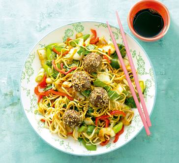 Sesame Beef Meatballs with Noodles image