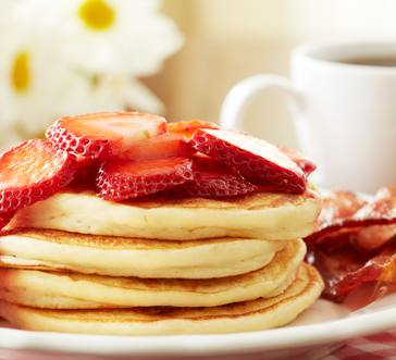 Ricotta Cheese Pancakes with Strawberries image
