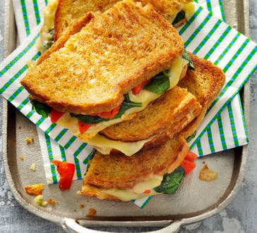 Grilled Mozzarella, Spinach, and Red Pepper Sandwiches image