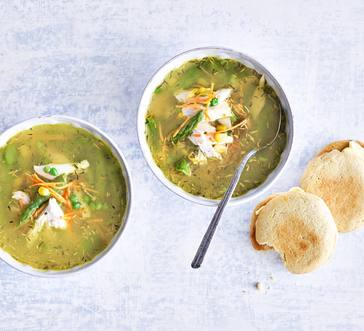 Chicken Pot Pie Soup with Spring Vegetables and Biscuits image