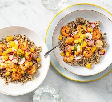 Quinoa Bowl with Shrimp and Mango image