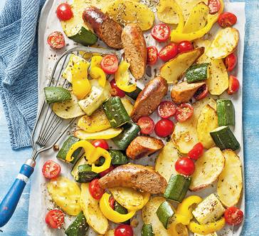 Sheet Pan Sausage, Potato, and Veggie Bake image