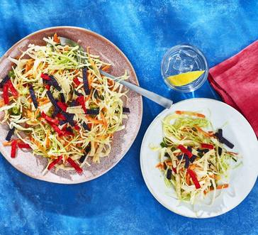Slaw with Lime Vinaigrette and Tortilla Strips image