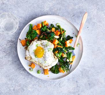 Sweet Potato and Broccoli Rabe Hash with Fried Eggs image
