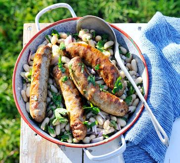 Grilled Sausages and Beans image