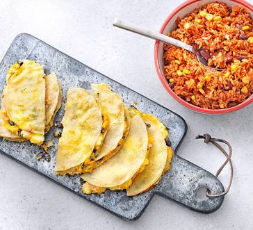 Sheet Pan Quesadillas with Butternut Squash and Black Beans image