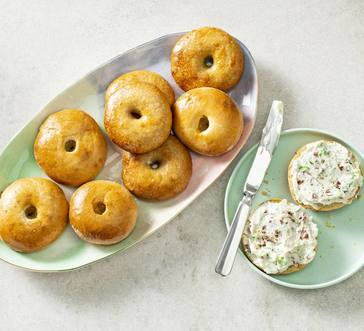 Three-Ingredient Bagels with Green Onion–Bacon Cream Cheese image