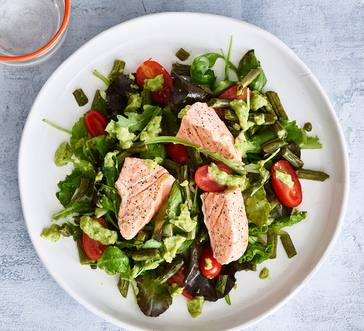 Spring Salad with Salmon and Creamy Avocado Dressing image