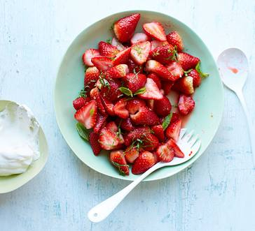 Marinated strawberries with lime & basil image