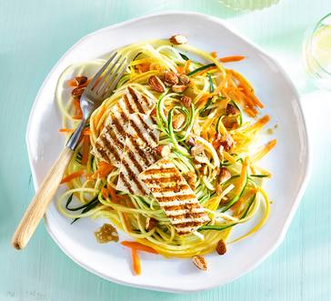 Grilled Tofu over Summer Squash Salad image