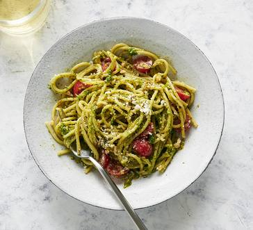 Spaghetti with Spring Herb Pesto image
