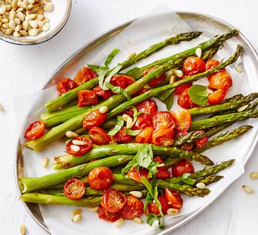 Roasted Asparagus with Blistered Tomatoes image