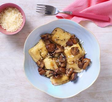 Ravioli with Rosemary Butter and Mushrooms image