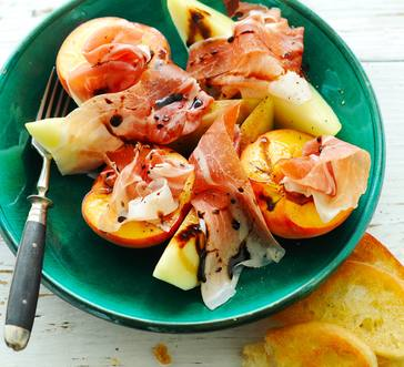 Peaches and Melon with Prosciutto and Balsamic Glaze image