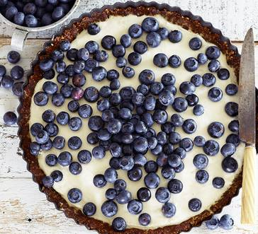 Blueberry Cream Cheese Tart with a Gluten-Free Honey-Nut Crust image
