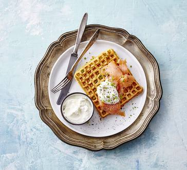 Latke Waffles with Smoked Salmon image