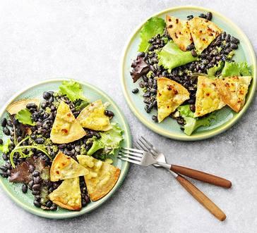 Black Bean Salad with Cheesy Tortilla Croutons image