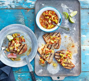 Hawaii Seared Tuna Steaks with Pineapple Sauce image