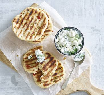 Grilled Bread with Spicy Yogurt Dip image