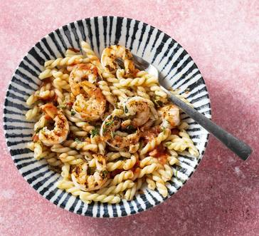 Gemelli with Grilled Tomatoes and Shrimp image
