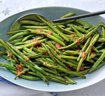 Garlicky Roasted Green Beans with Mustard Sauce image