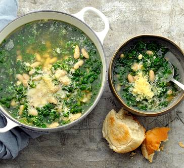 White Bean Soup with Greens and Parmesan image