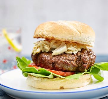 Crab-Topped Beef Burger image