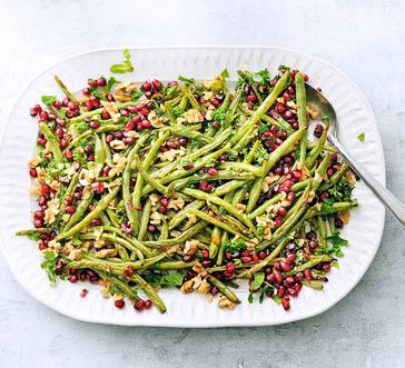 Roasted Green Beans with Walnuts and Pomegranate Seeds image