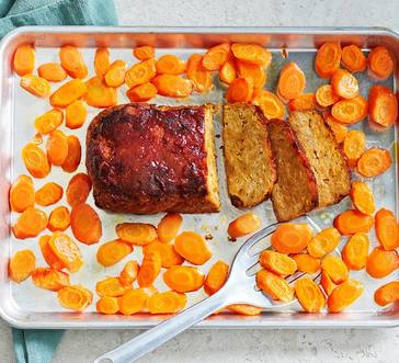 Sheet Pan Turkey Meatloaf with Roasted Carrots image