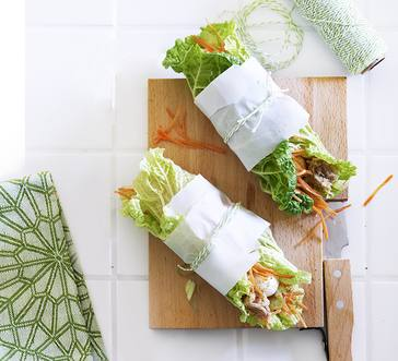 Cabbage Wrap with Tuna, Apple, and Carrot image