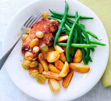 Pork with Roasted Grapes, Beans, and Potatoes image